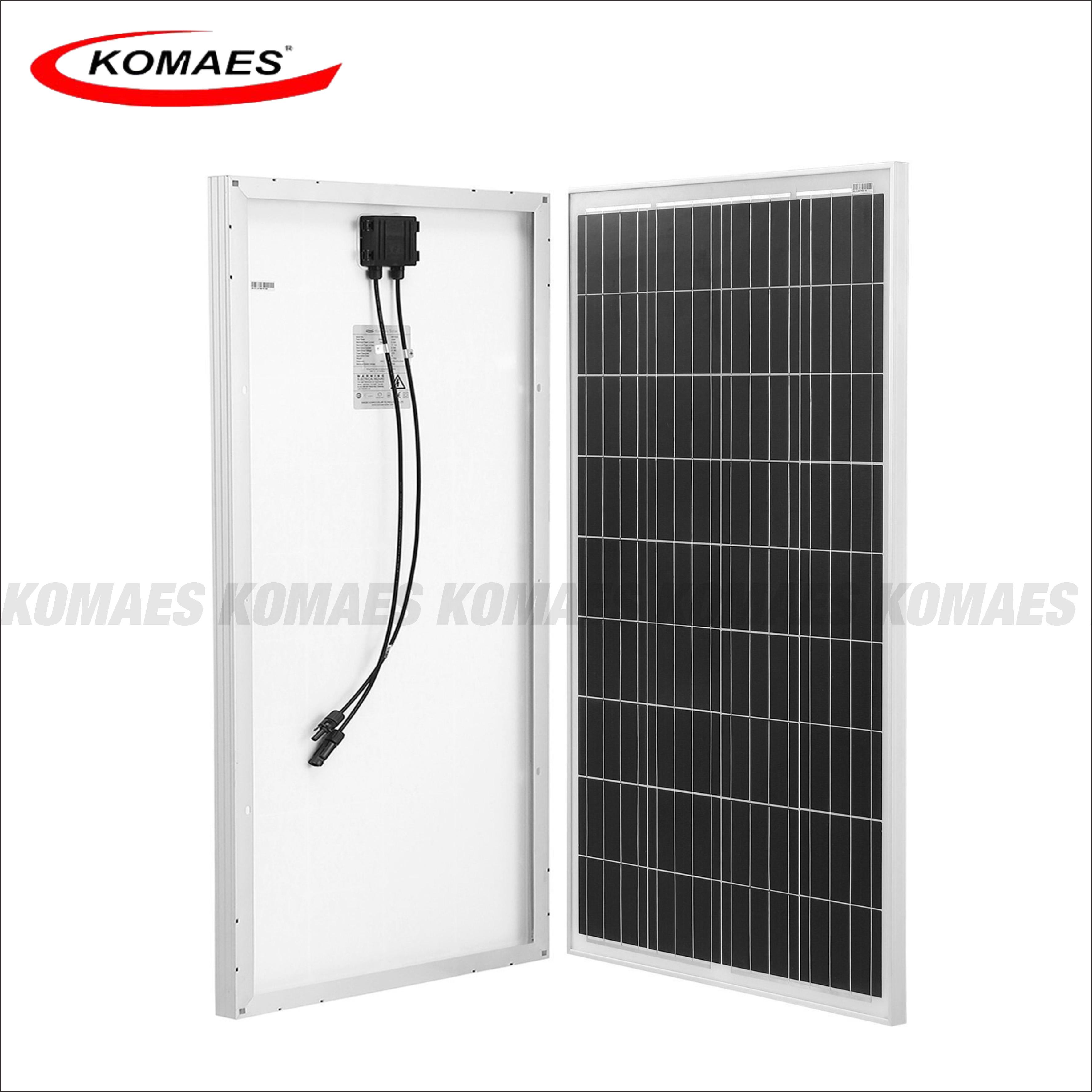 Komaes 12V 100 Watts Solar Panel Kit Poly for f Grid RV Boat