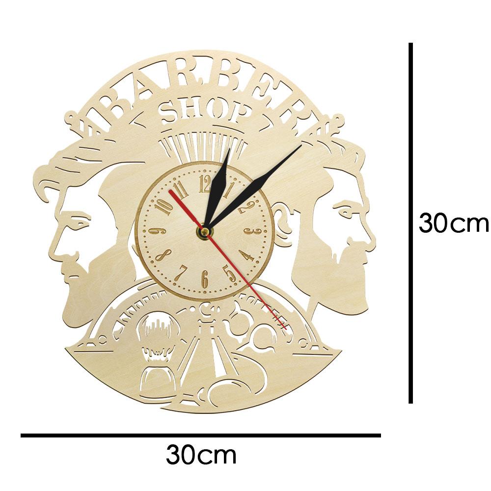 Barber Shop Wood Wall Clock Hairdresser Logo Hair Salon Cutter Vintage Watch 2