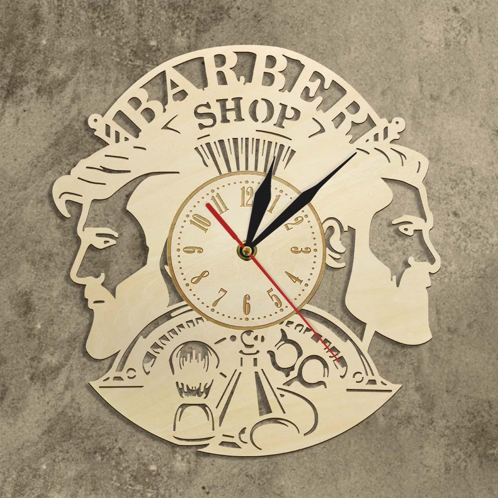 Barber Shop Wood Wall Clock Hairdresser Logo Hair Salon Cutter Vintage Watch 4
