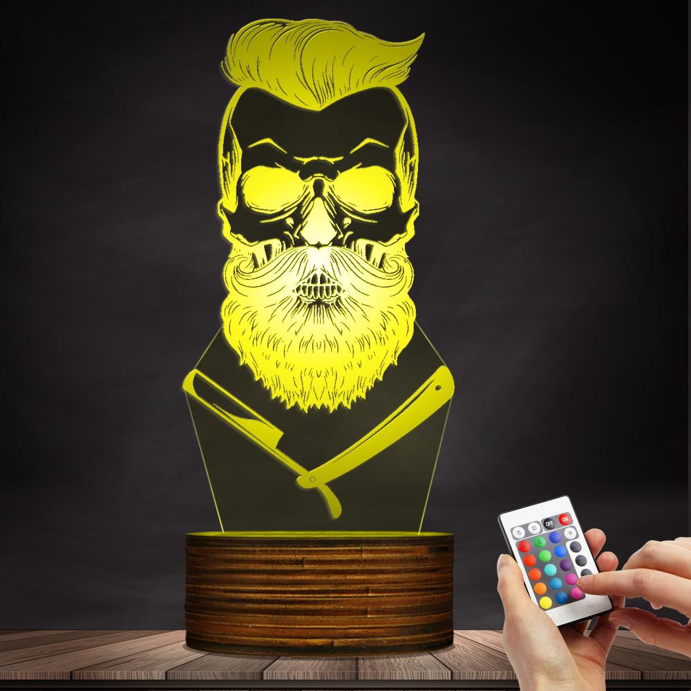 Hipster Barber Shop 3D Night Lamp Shave Salon LED Light Mustache ...