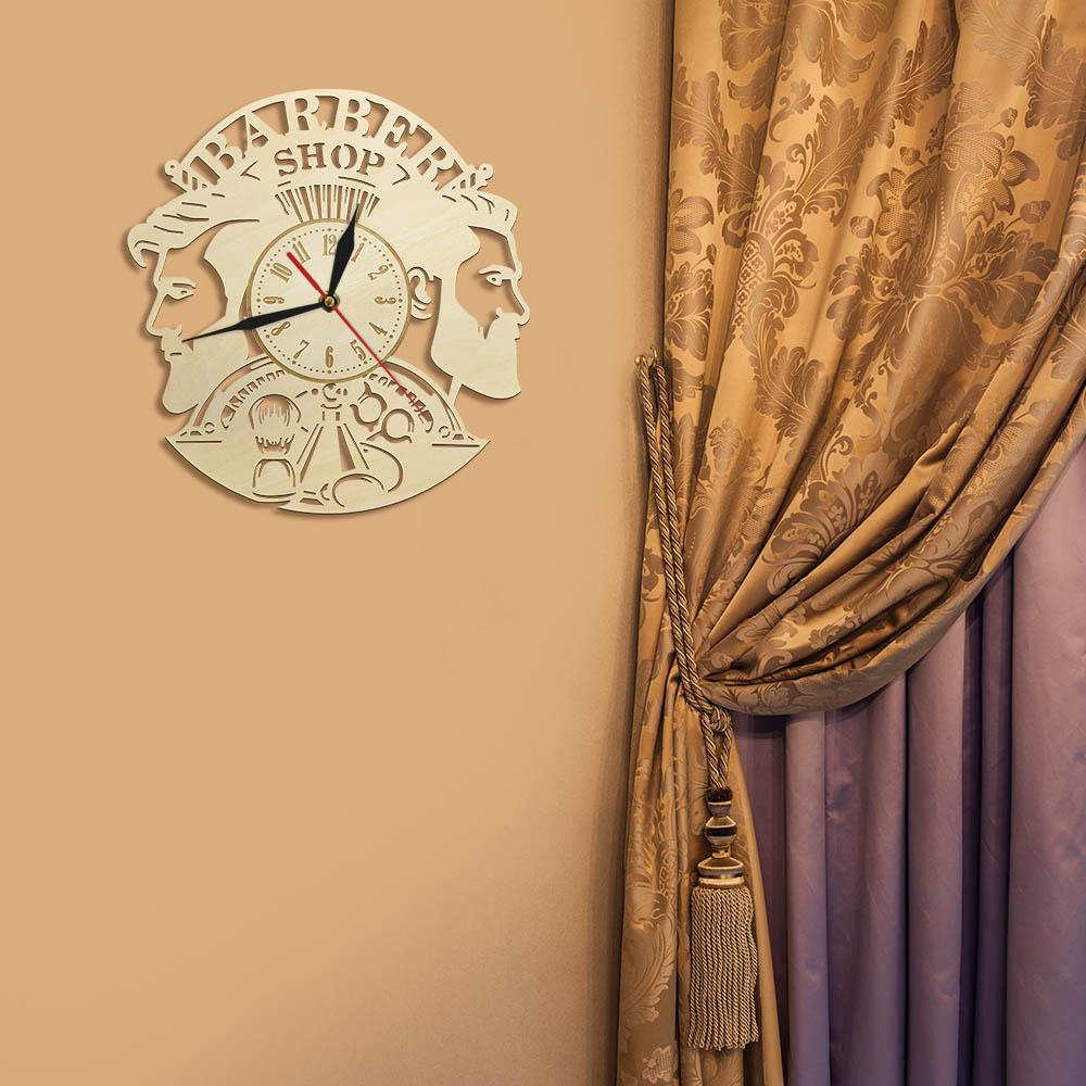 Barber Shop Wood Wall Clock Hairdresser Logo Hair Salon Cutter Vintage Watch 6