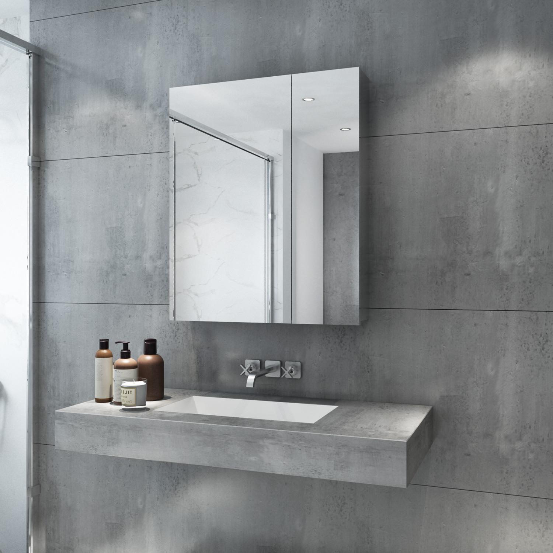 720x600mm Bathroom Mirror Cabinet Storage Polished ...