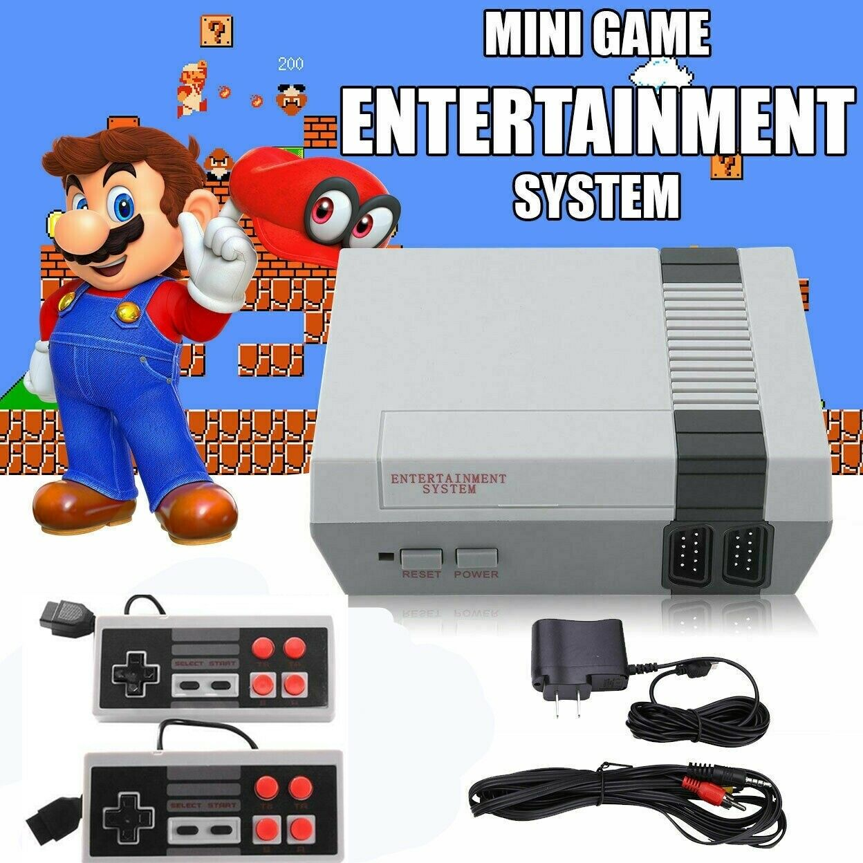 Retro Game Console 620 Built-in MINI Classic NES Nintendo Games 2 Controllers US