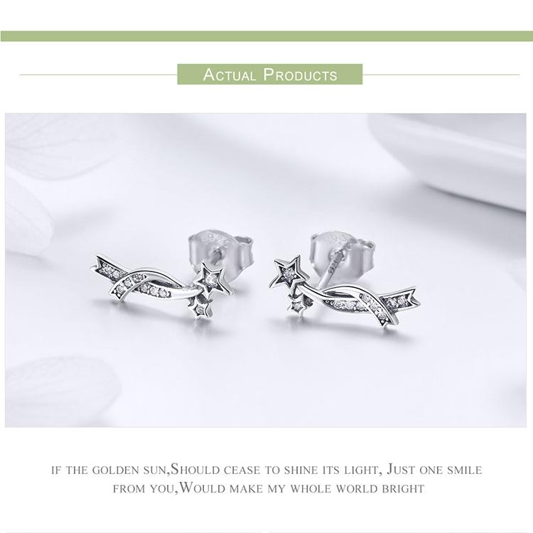 37c999647 Women 925 Sterling Silver Ear Stud Earrings Sparkling Meteor Climber ...