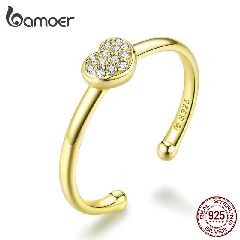 Bamoer Pretty S925 Sterling Silver Finger Ring With Cats love For women Jewelry
