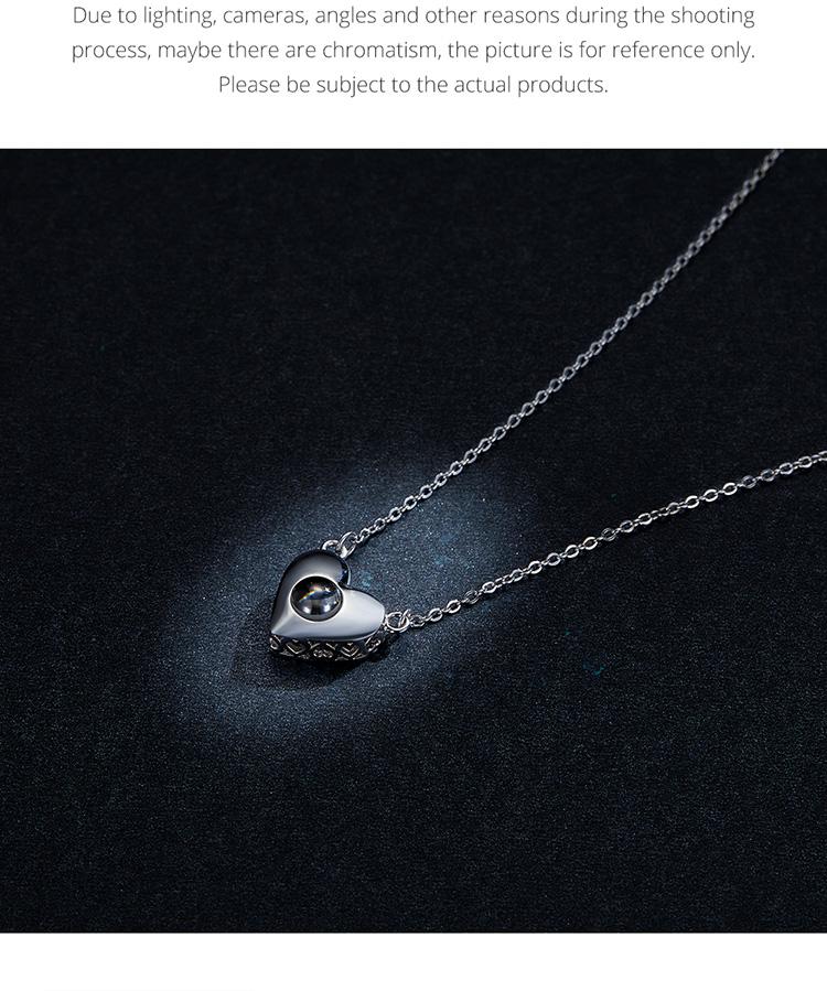 Collar Colgante Plata Esterlina 925 Cubic Zirconia Joyería Regalos Amor idioma wostu Regalo
