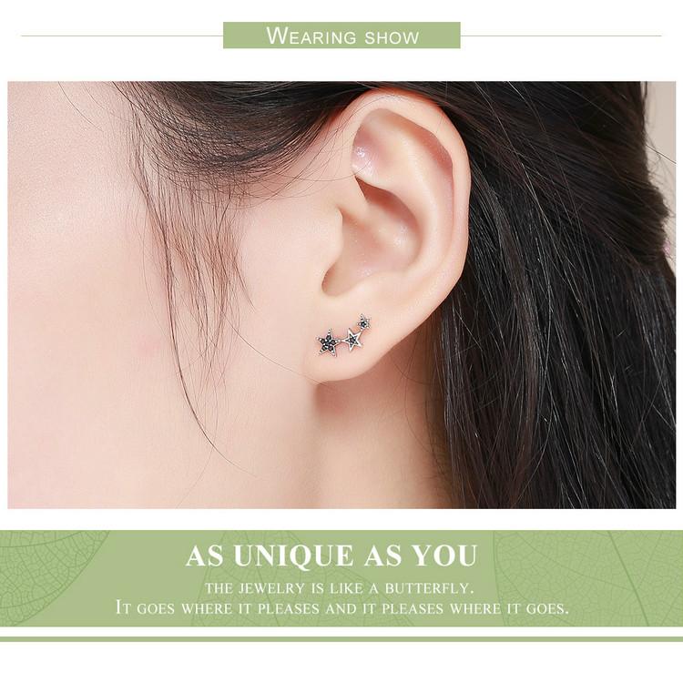 Voroco Boucles d/'oreilles S925 Argent Sterling Stars Stellar Charme Bleu CZ Women Jewelry