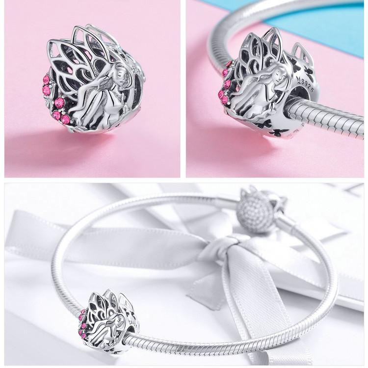 Voroco Flower Fairy S925 Sterling Silver Charm Bead Pendant For Chain Bracelet