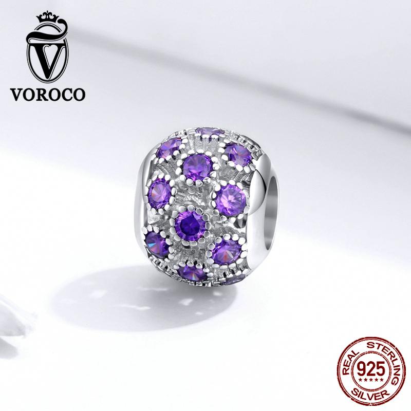 Voroco Women European DIY AAA CZ Charm Jewelry 100/% silver Octopus For Bracelet