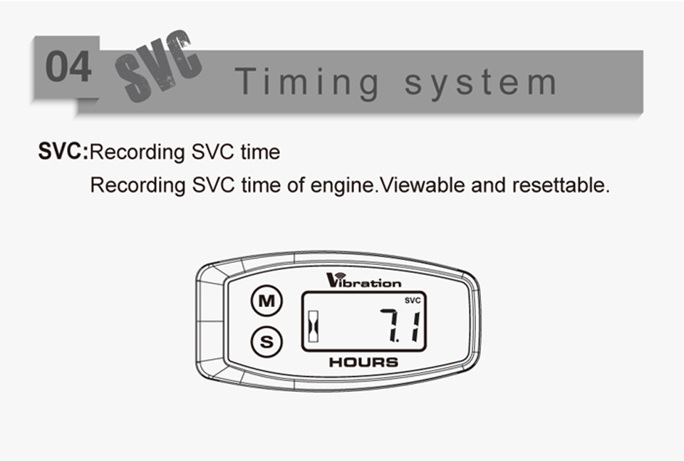 Vibration Activated Wireless Maintenance Hour Meter Motorcycle Hour