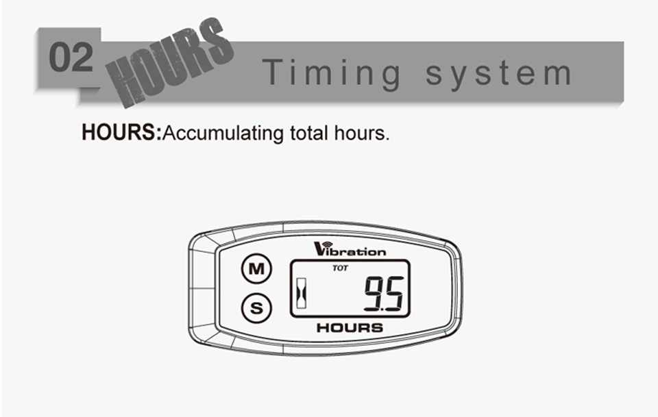 015B Wireless Vibration Activated Hour Meter Maintenance Hour Meter Mower Marine