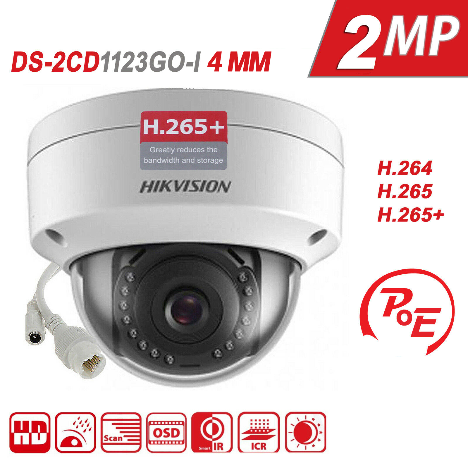 Hikvision Camera DS-2CD1123G0-I 2MP IP POE Dome 1080P H.265 IR30m IP67 4mm lens