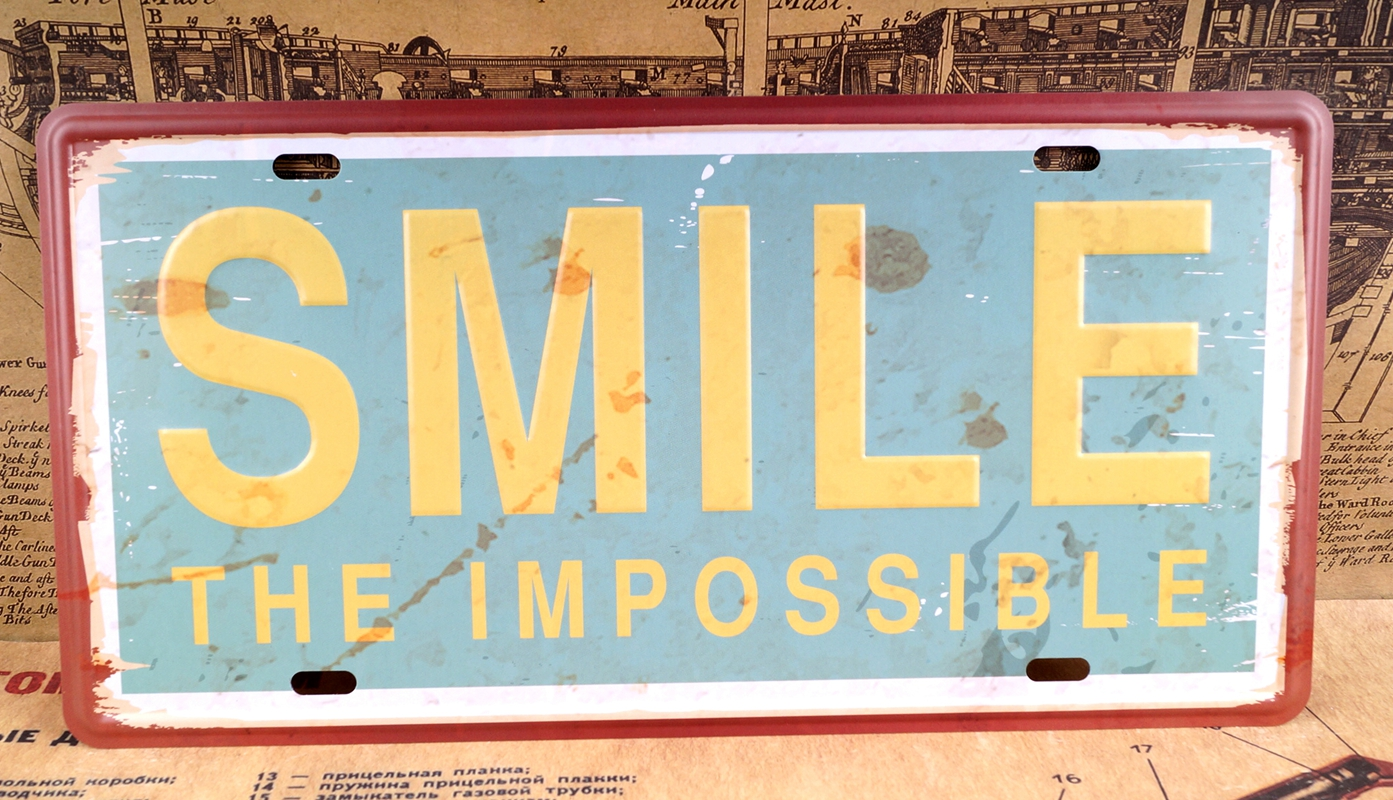 Vintage SMILE Metal Tin Signs Bar Home Decor Retro Plaques Art Wall ...