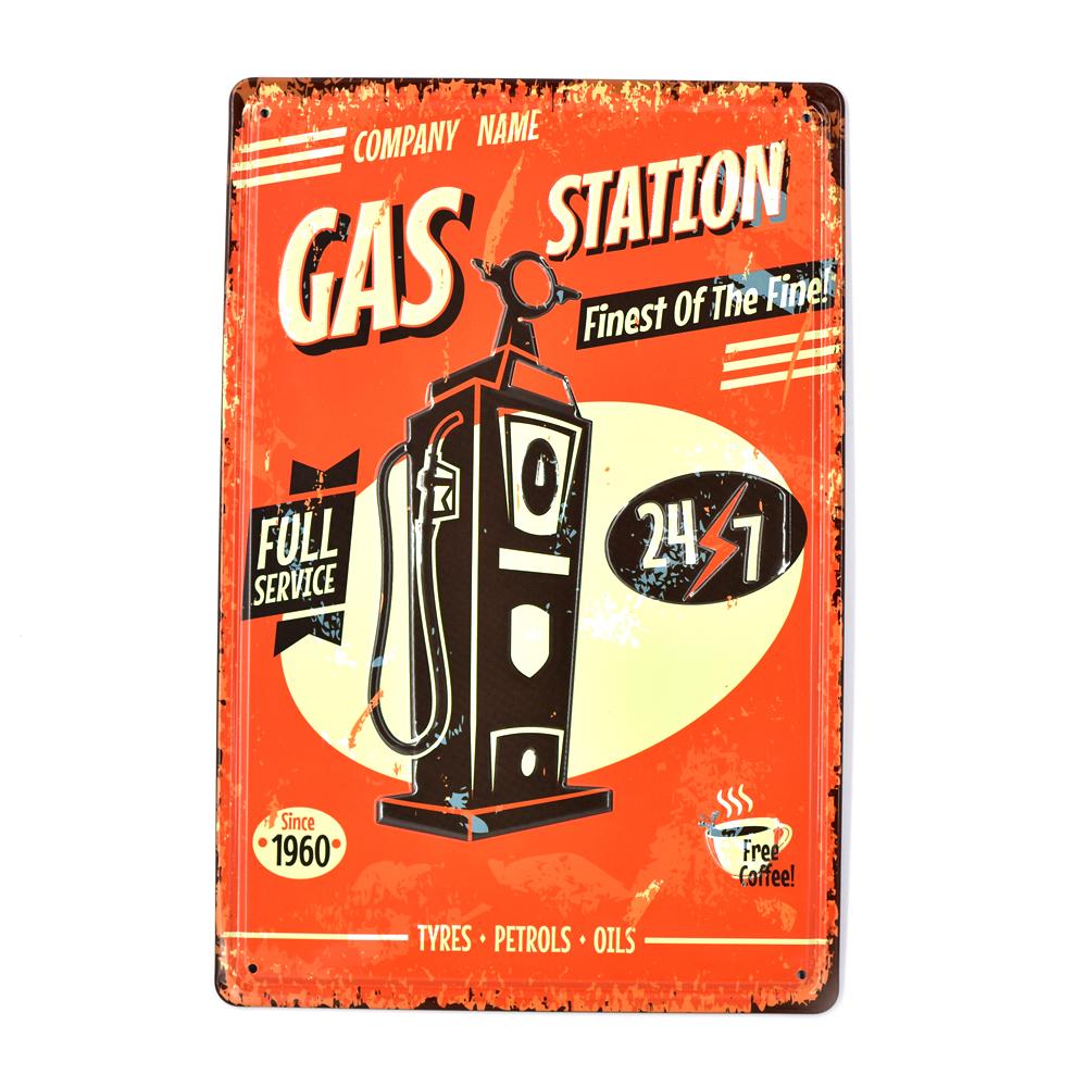 Metal Tin Sign last chance gas station  Decor Bar Pub Vintage Retro Poster Cafe