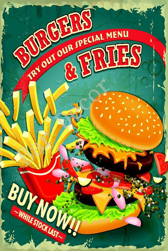 Tin Sign Food Restaurant Decoration French fries Metal Plate 8X12