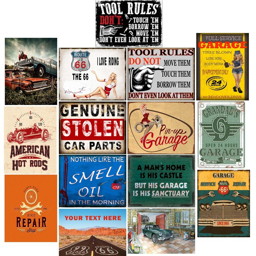 Auto Mechanics Metal Tin Sign Retro Homewares Decor Vintage Pinup Garage Car