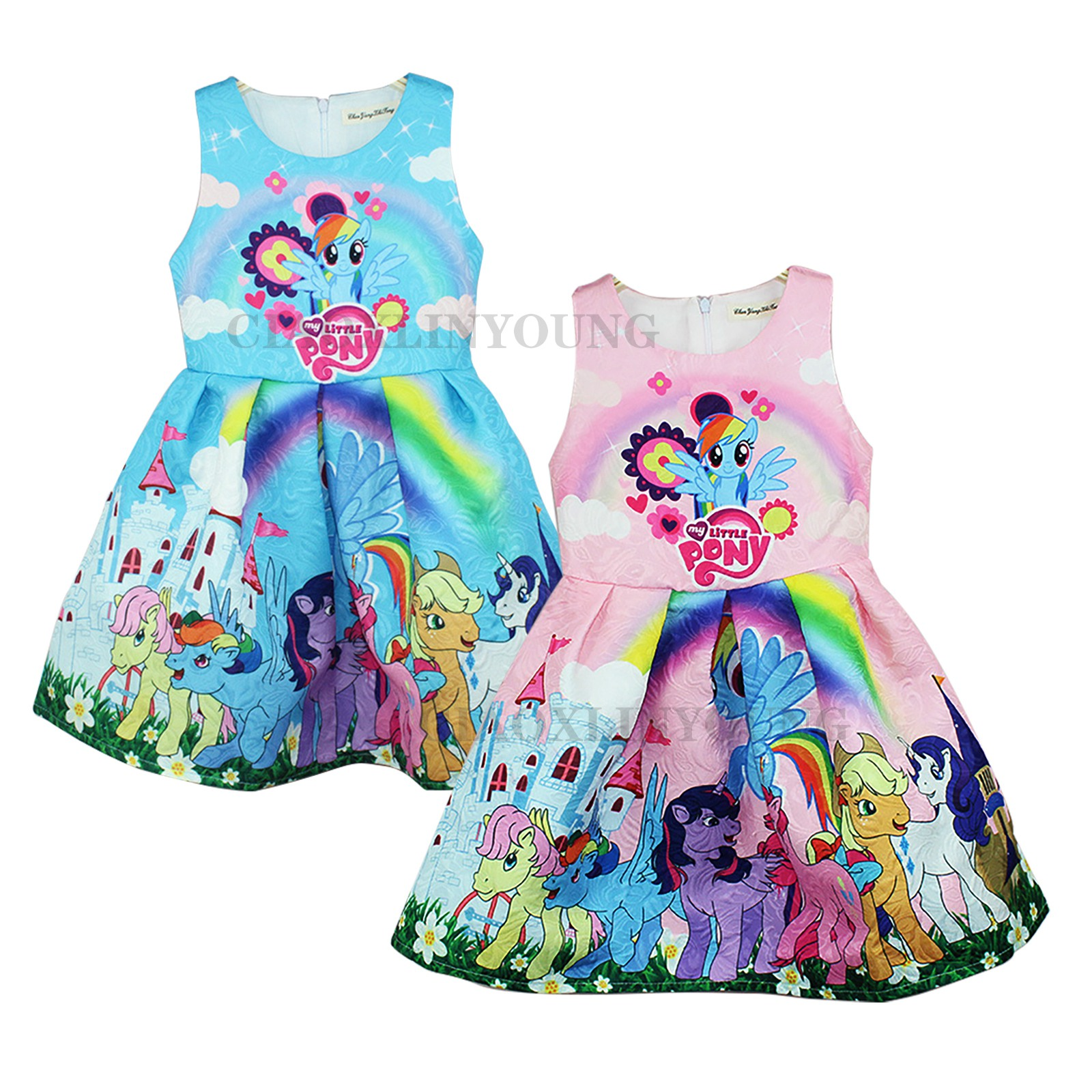 Summer Girls Kids My Little Pony Cartoon Sleeveless Party Holiday ...
