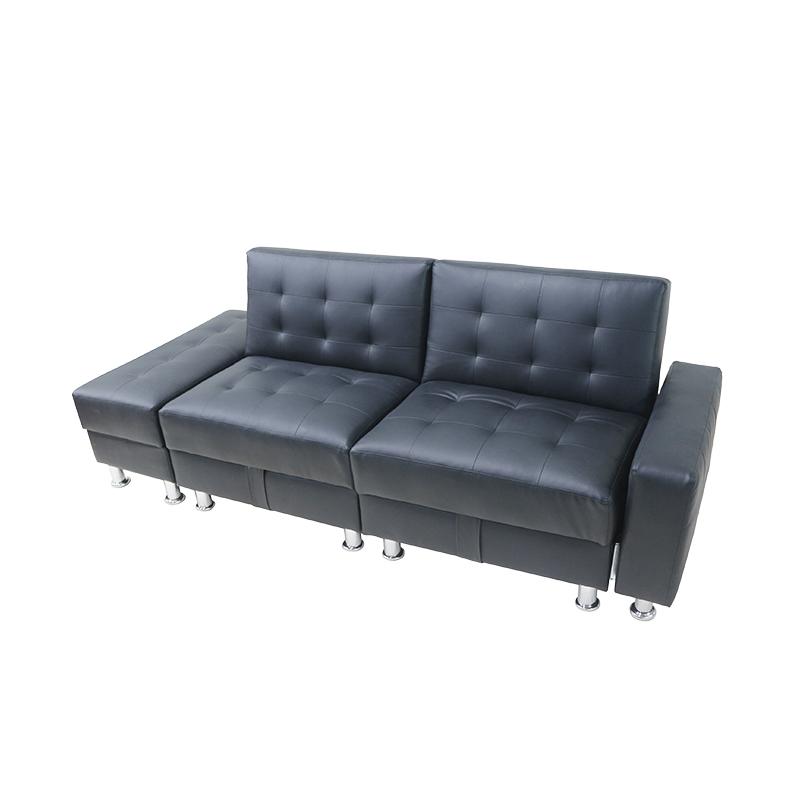 Black Pu Leather Foldable 3 Seater Sofa Sleeper Bed Living Room Storage Unit Uk