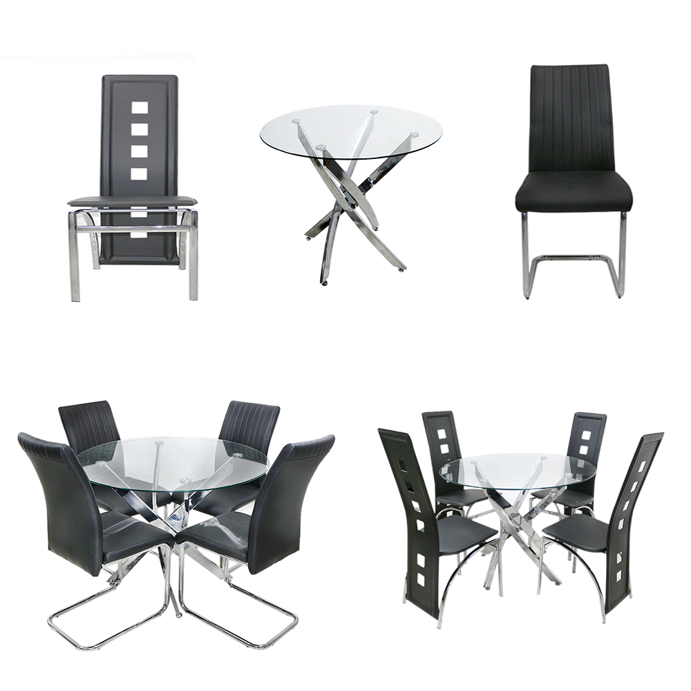los angeles d458d 10b50 Details about New Round Glass Dining Table Set with 4 Chairs Black Faux  Leather High Back -uk