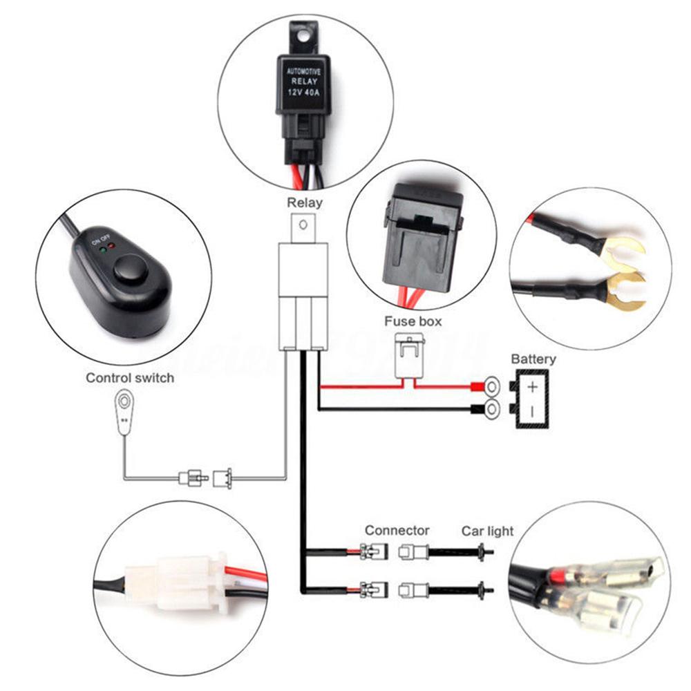 universal car fog light wiring harness kit loom led work driving light bar uk 7611681611527