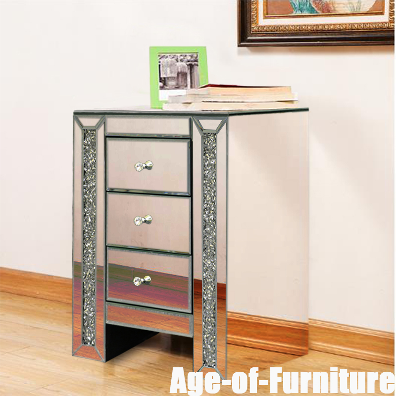 Details About Mirrored Bedroom Furniture Set Crystal Gl Table Chest Of Drawer Bedside