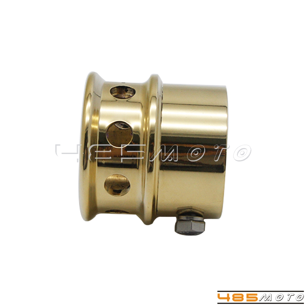 For Harley Chopper Bobber 2 in Brass Solid Drilled Exhaust Tips Groove Style