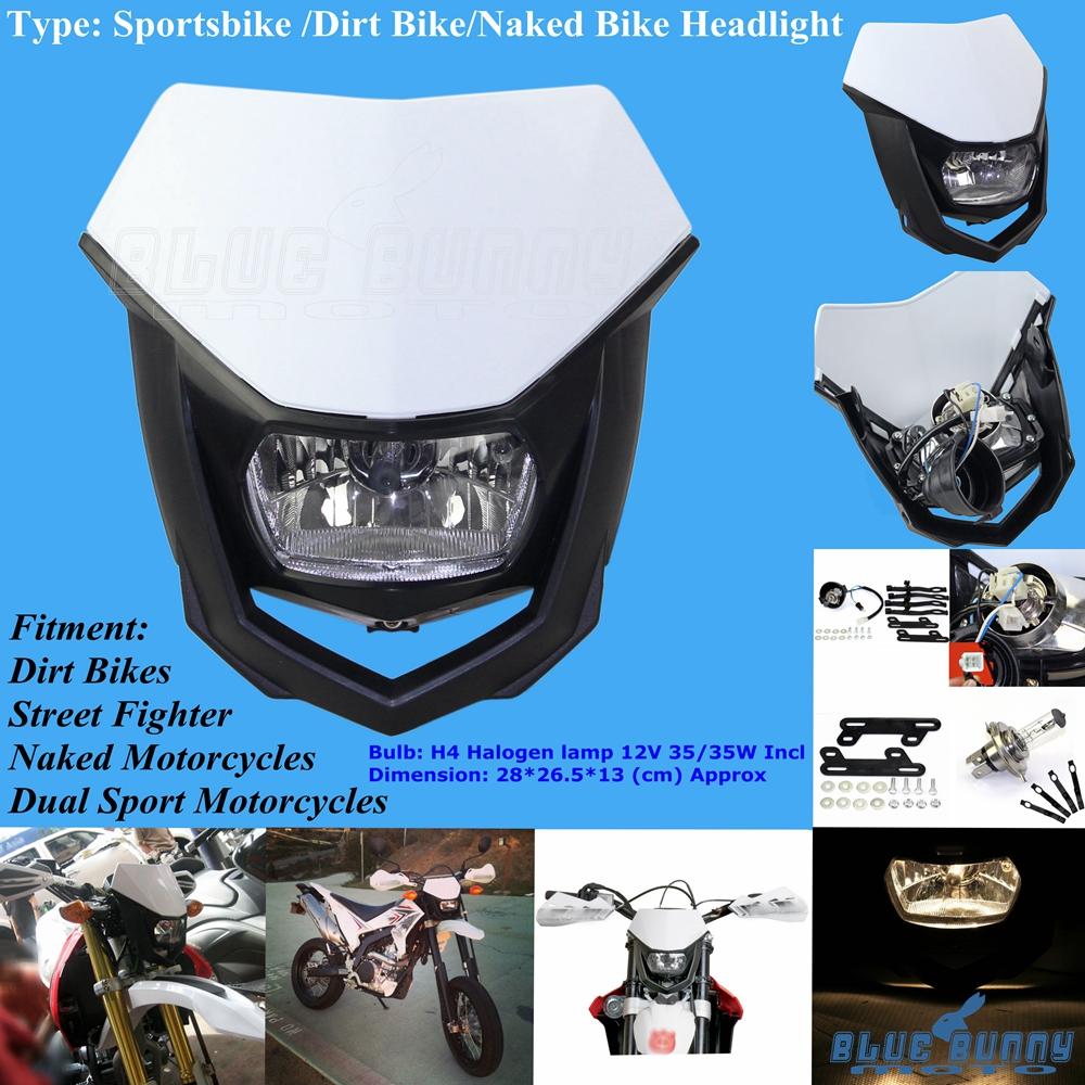Naked Motorcycle Dirt Bikes LED Vision Headlight Lamp Universal Fit Honda Suzuki