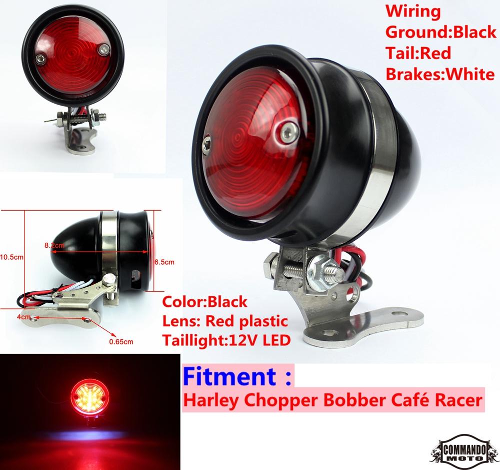 Retro Custom LED Mesh Tail Brake Light Black 12V w// Bracket Bobber Chopper Cafe