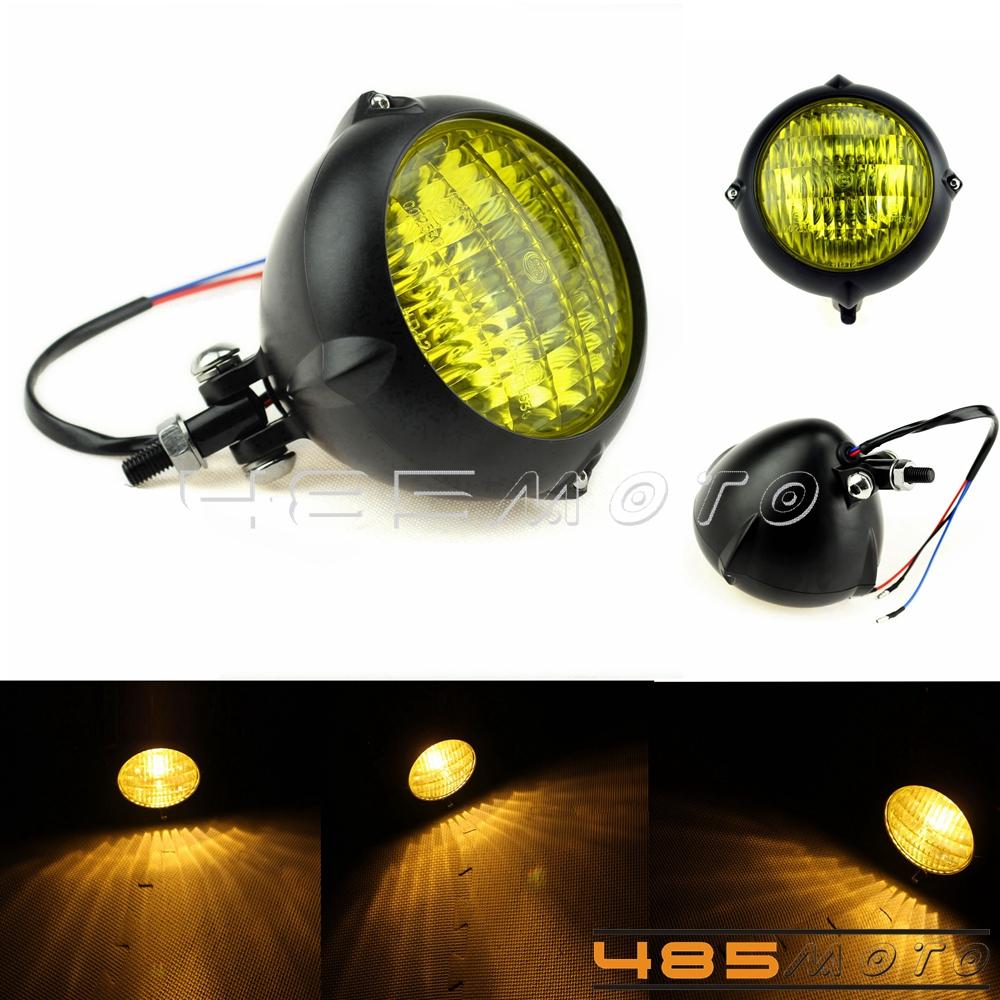 Motorcycle Headlight Amber Light Lamp for Harley Bobber Chopper Yellow Lens