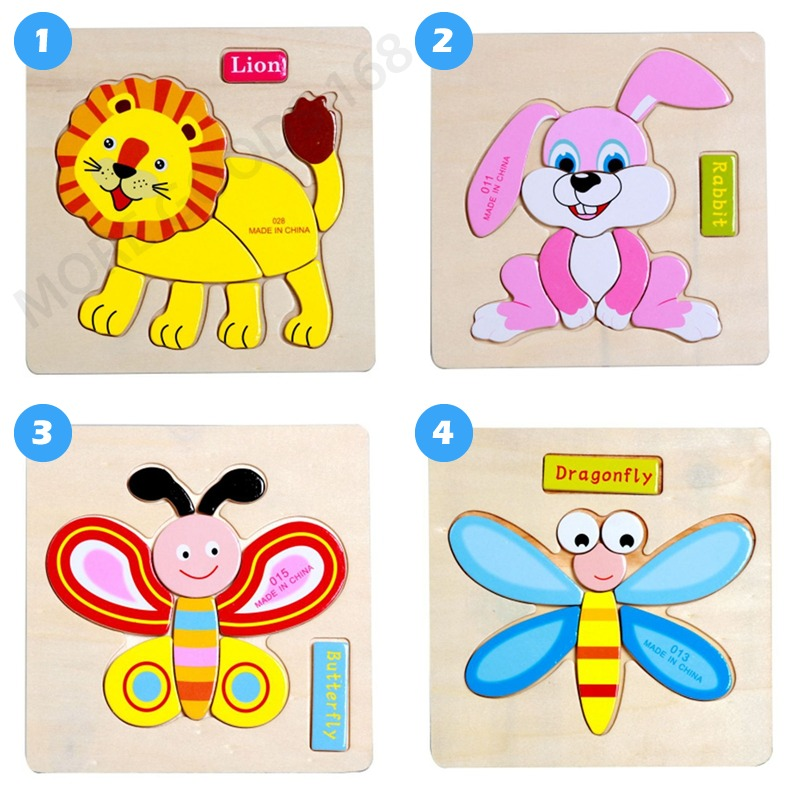 Wooden Animal Farm Jigsaw Puzzle Toy Toddler Children Educational Learning H