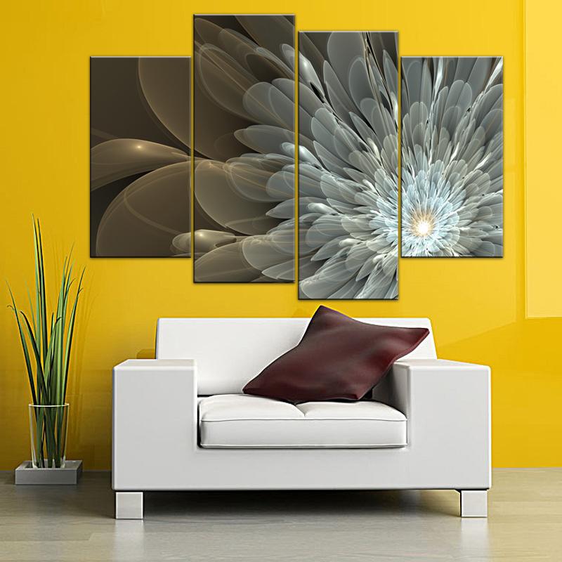 Large Flower Painting Golden White Canvas Print Home Decor Floral ...
