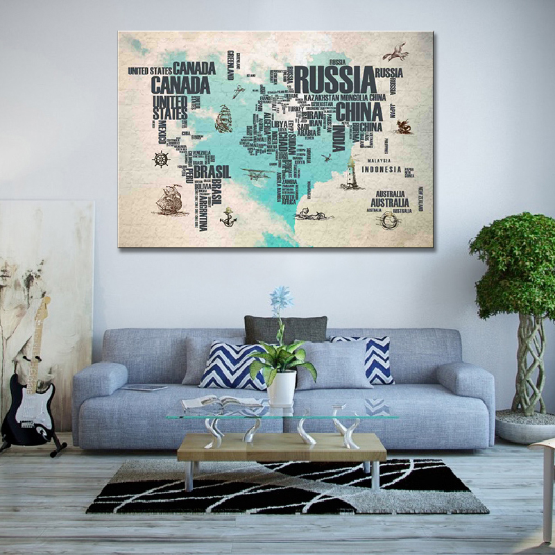 Abstract letter world map canvas print modern blue map wall art abstract letter world map canvas print modern blue map wall art large 32x48 gumiabroncs Images