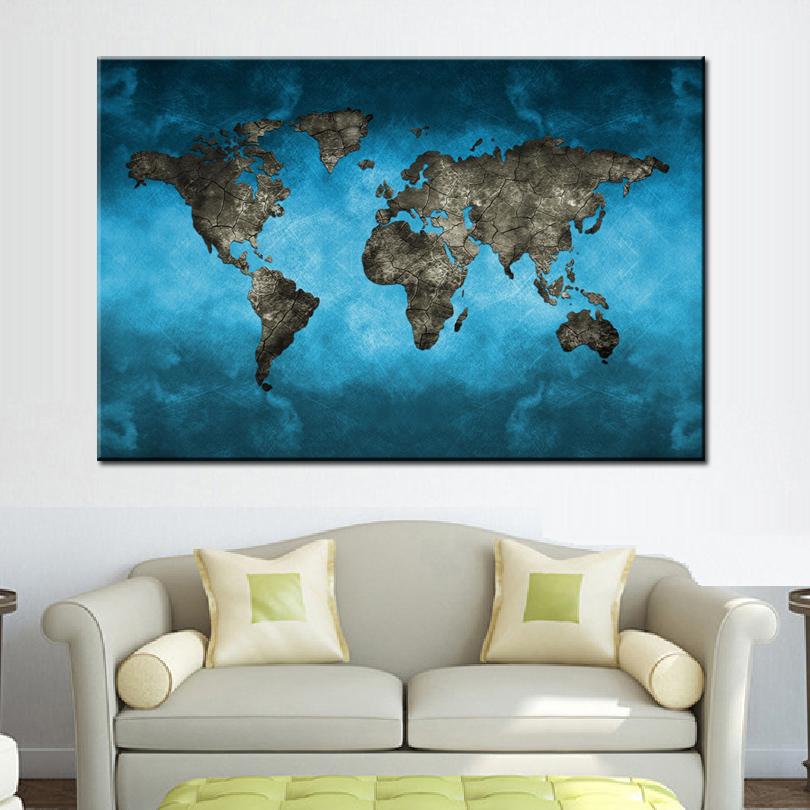 Blue world map canvas print wall art modern abstract global map blue world map canvas print wall art modern abstract global map painting large gumiabroncs Gallery