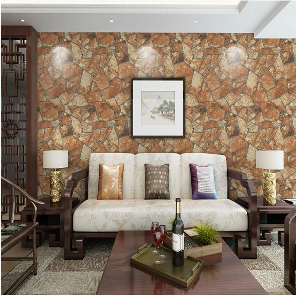 High quality Pastoral Retro Style PVC Stone Pattern Wallpaper Roll 0.53*10M=5.3㎡