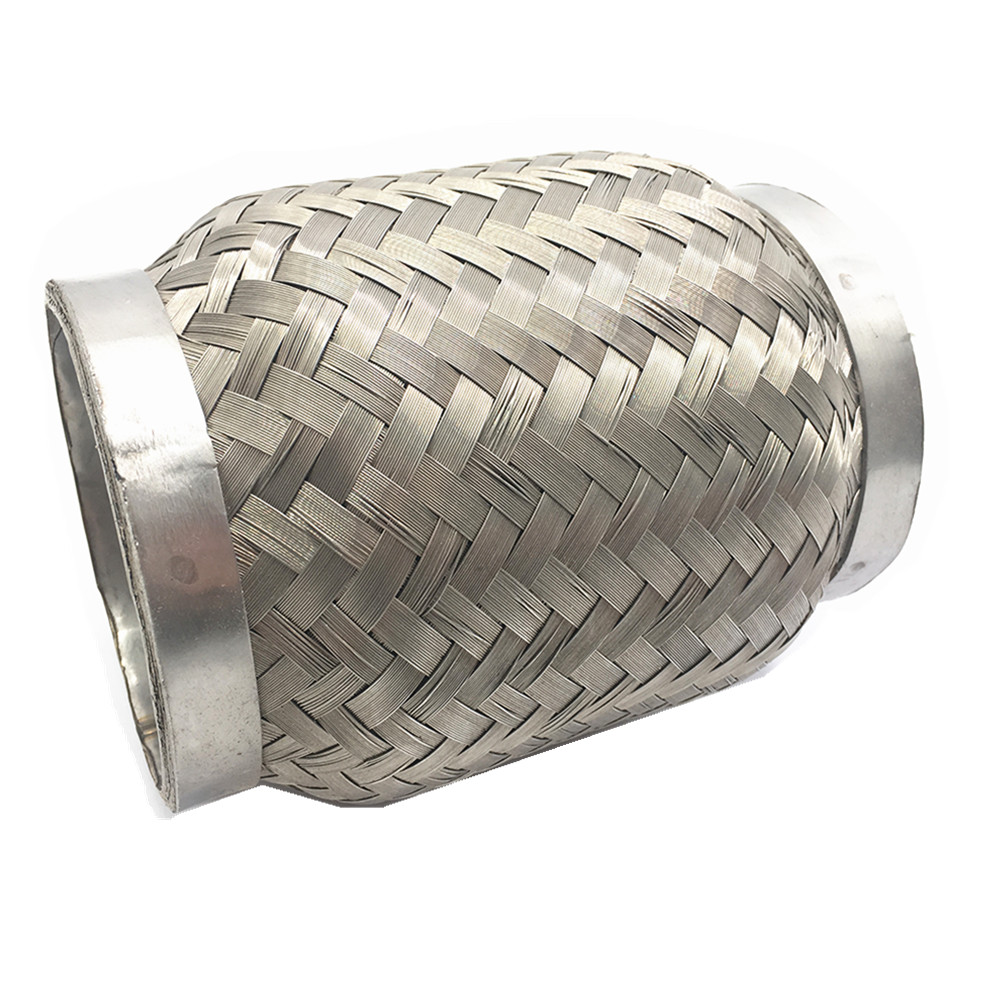 """UNIVERSAL 3.5/""""X 7.75/""""STAINLESS DOUBLE BRAIDED FLEX PIPE EXHAUST ADAPTOR PIPING"""