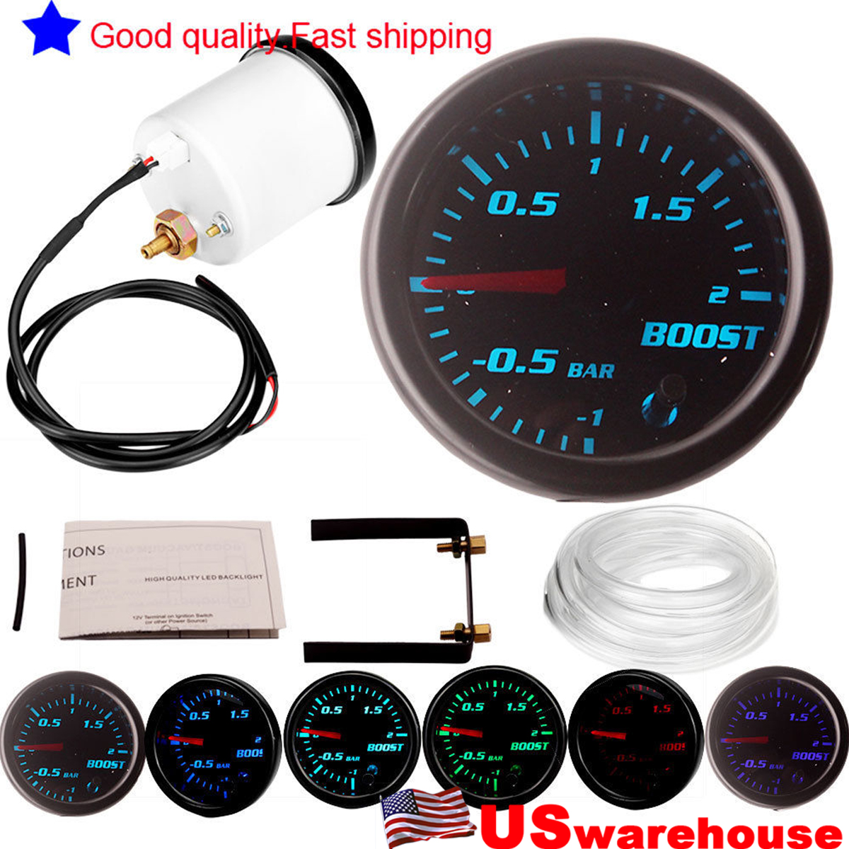 12v 2 U0026quot  52mm 7 Color Led Electrical Car Bar Turbo Boost