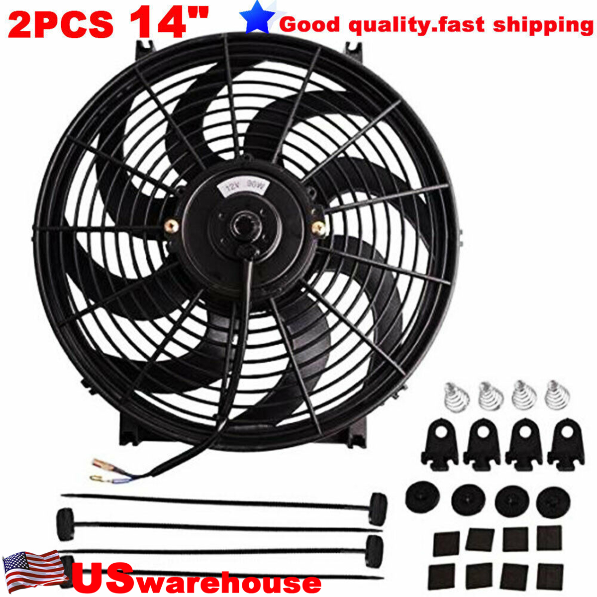 "12 Inch S-Blade Curved Reversible 1000 CFM Radiator Cooling Fan 12/"" Fan"