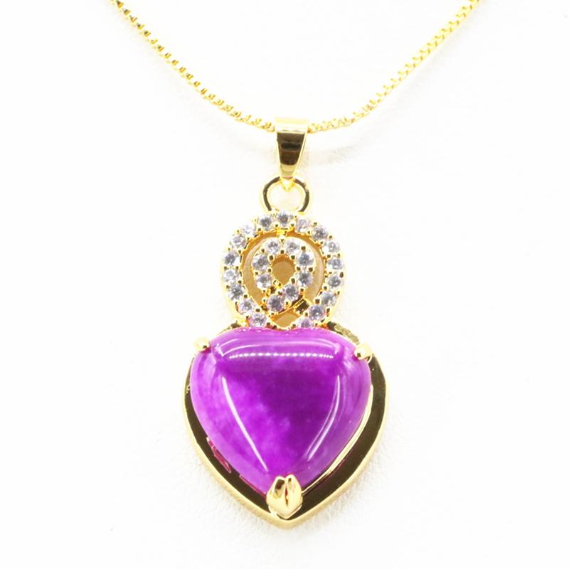 Purple heart necklace pendant women natural stone jade jasper image is loading purple heart necklace pendant women natural stone jade mozeypictures Gallery