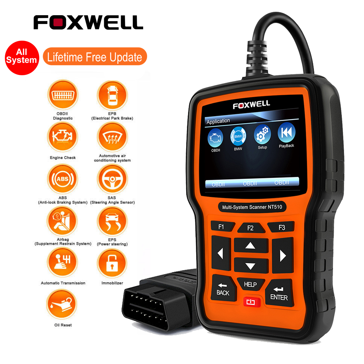 Details about FULL SYSTEM OBDII Diagnostic Scan Tool ABS SRS Reset Foxwell  NT510 For BMW MINI