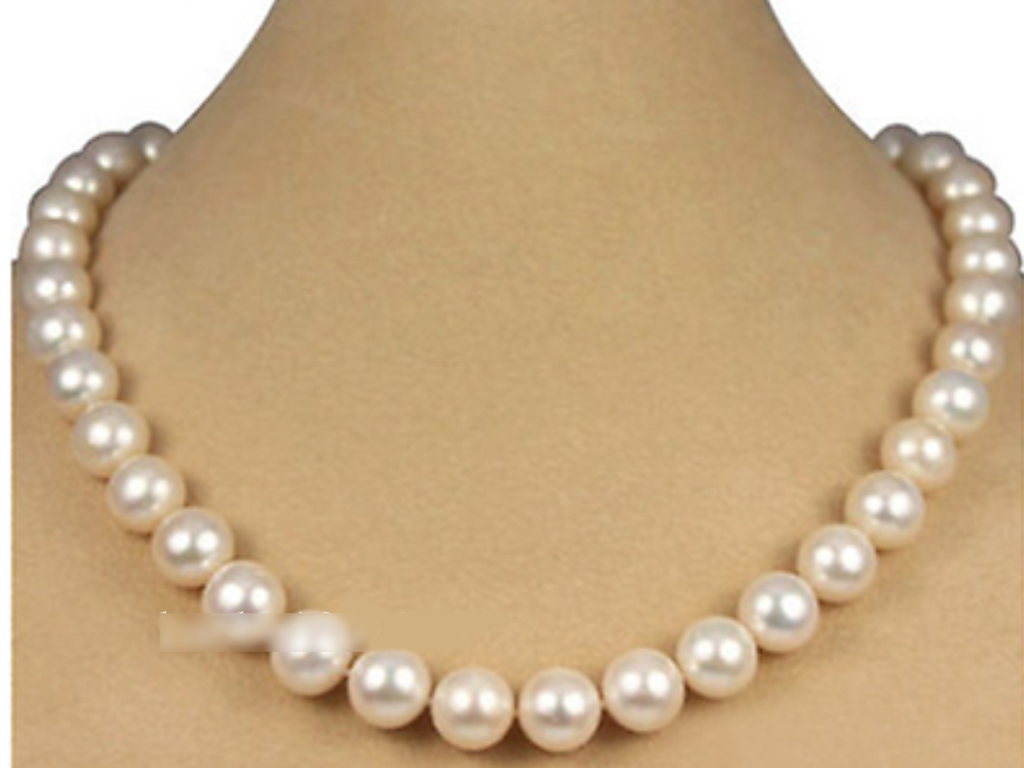 """8 Mm Blanc Akoya Cultured Shell Perle Collier Boucle D/'Oreille Set 18/"""" AAA"""