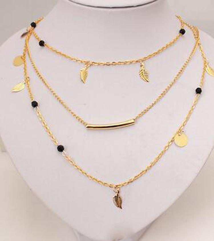 Fashion simple necklaces leaf long pendant necklaces 3 layer chain fashion simple necklaces leaf long pendant necklaces 3 aloadofball Image collections