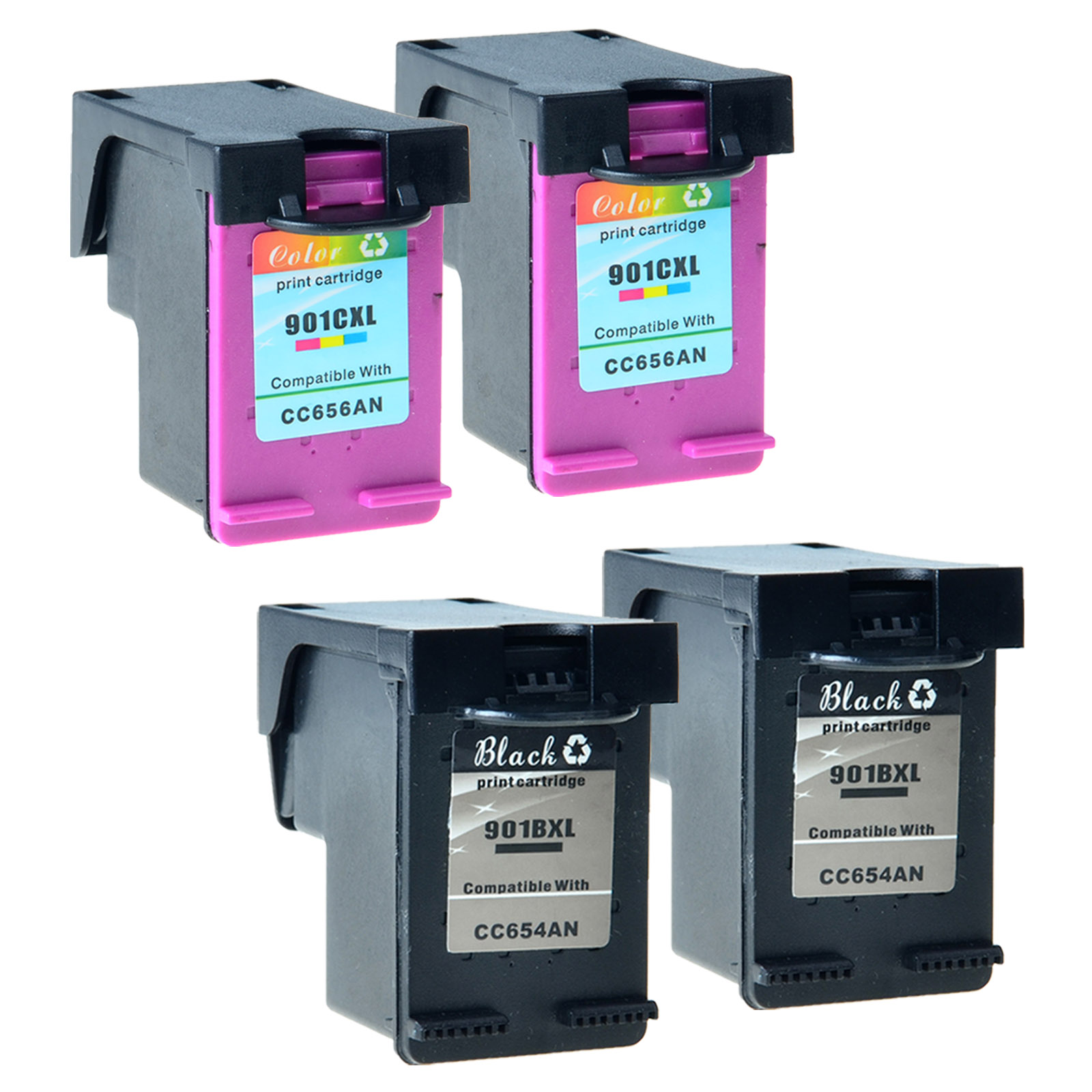 2 Remanufactured Ink Cartridge for HP OfficeJet J4680 J4580 4500 CC654AN #901XL