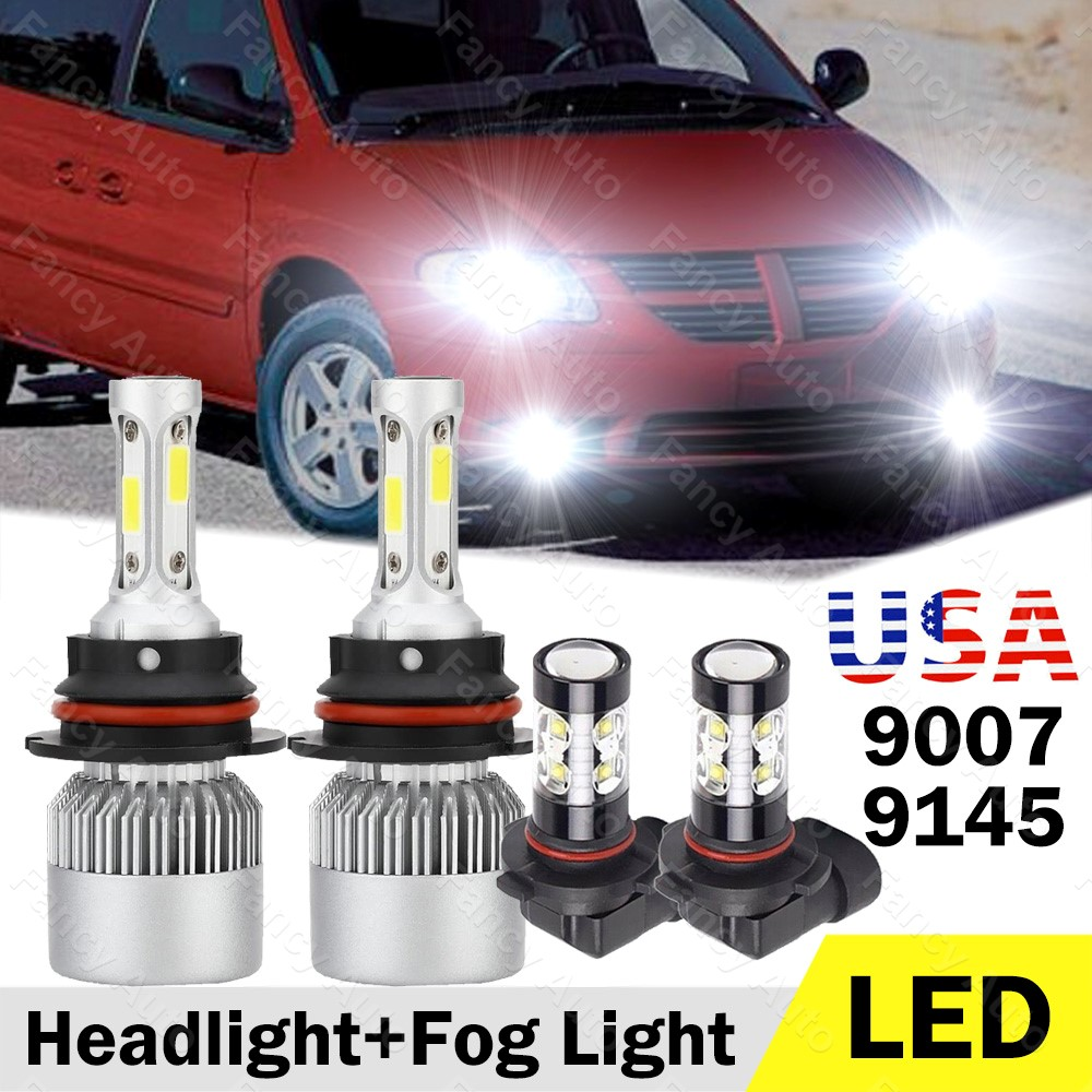 9005 Fog Light For Dodge Grand Caravan 01-07 4x 9007 LED Headlight Hi//low Beam