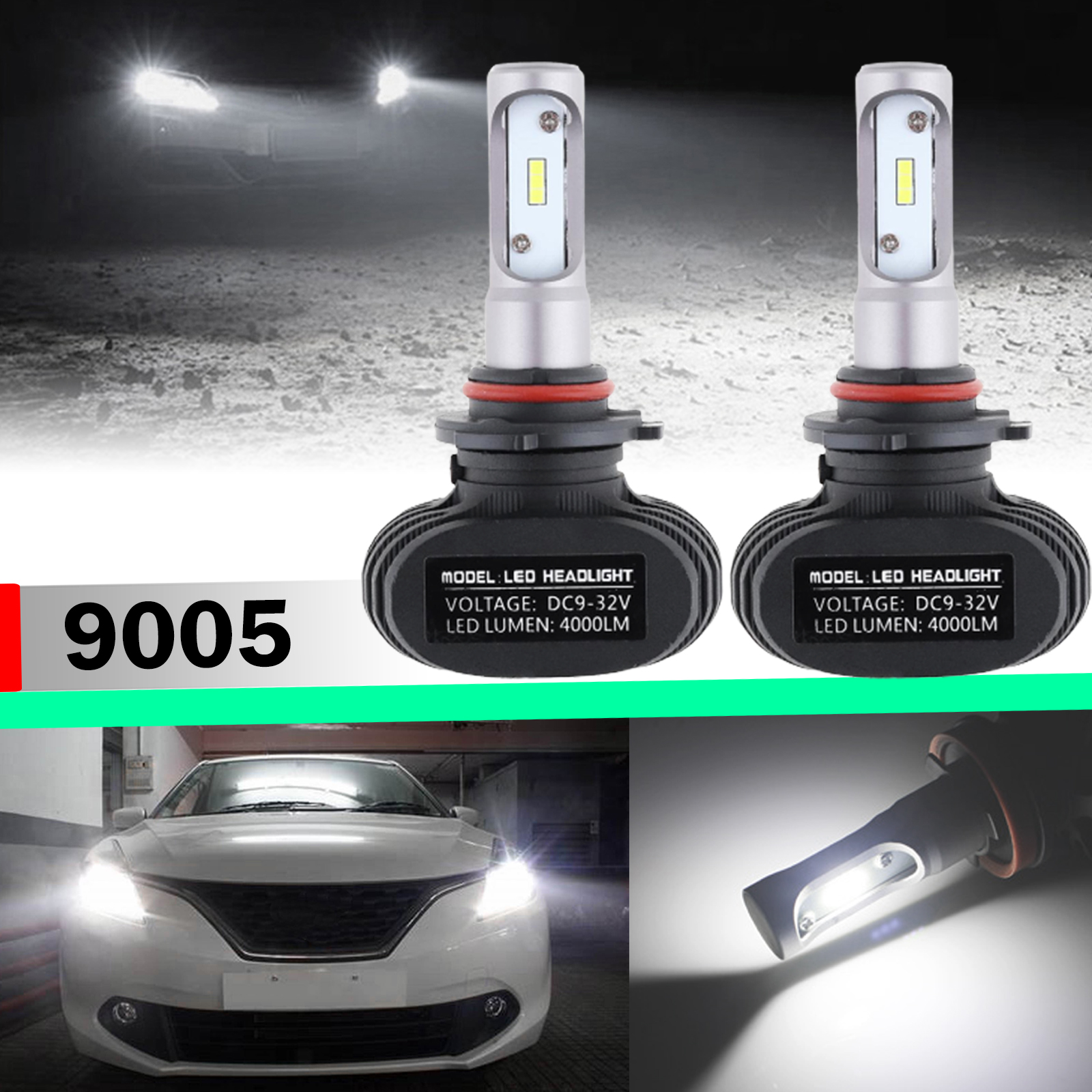 Nighteye 9005 HB3 LED Headlight Conversion Kit Bulbs Lamp 6500K White 8000LM 50W