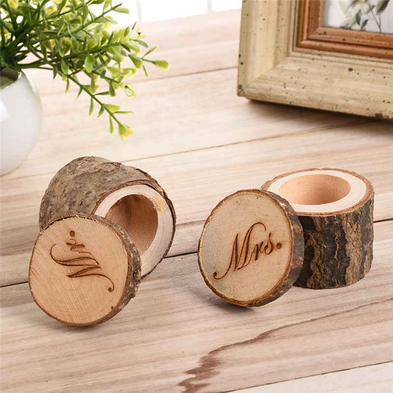 New natural round wooden unique rural wedding wood ring for Circular wooden box