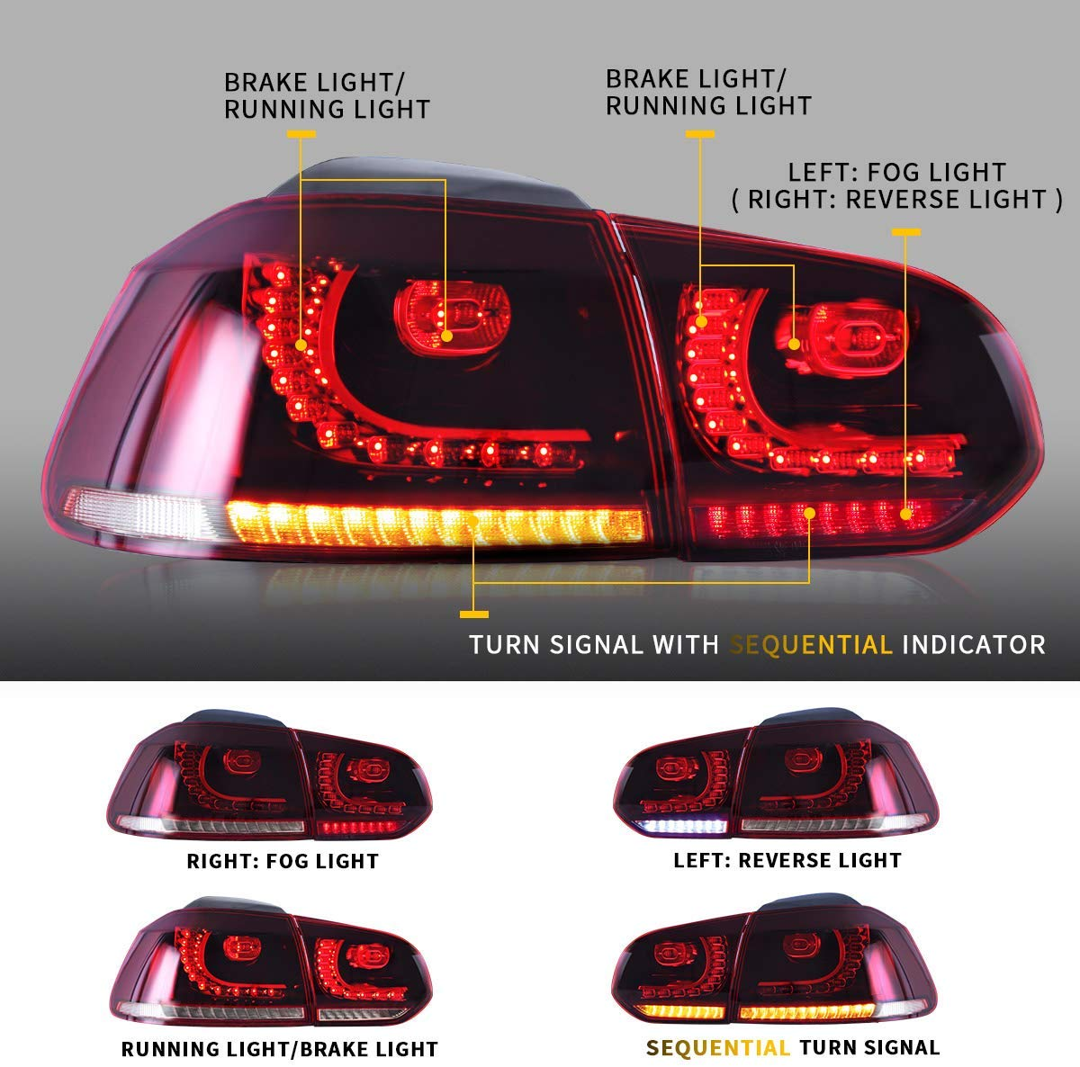 Sequential Tail Lights Assembly For Volkswagen Golf 6 Vw