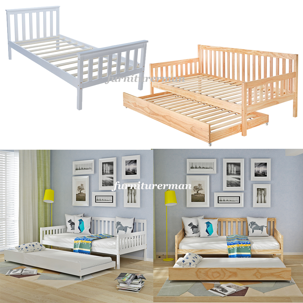 Solid Pine White / Natural Wooden Single / Day Bed / Triple Bed ...