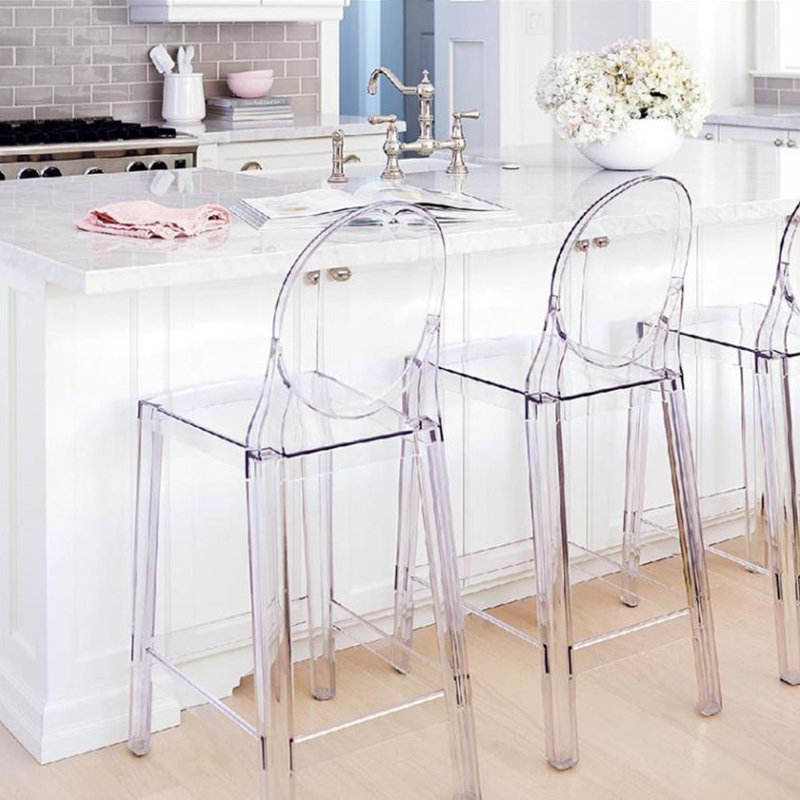 Clear Kitchen Chairs: Ghost Clear High Bar Stool Dining Chair Transparent