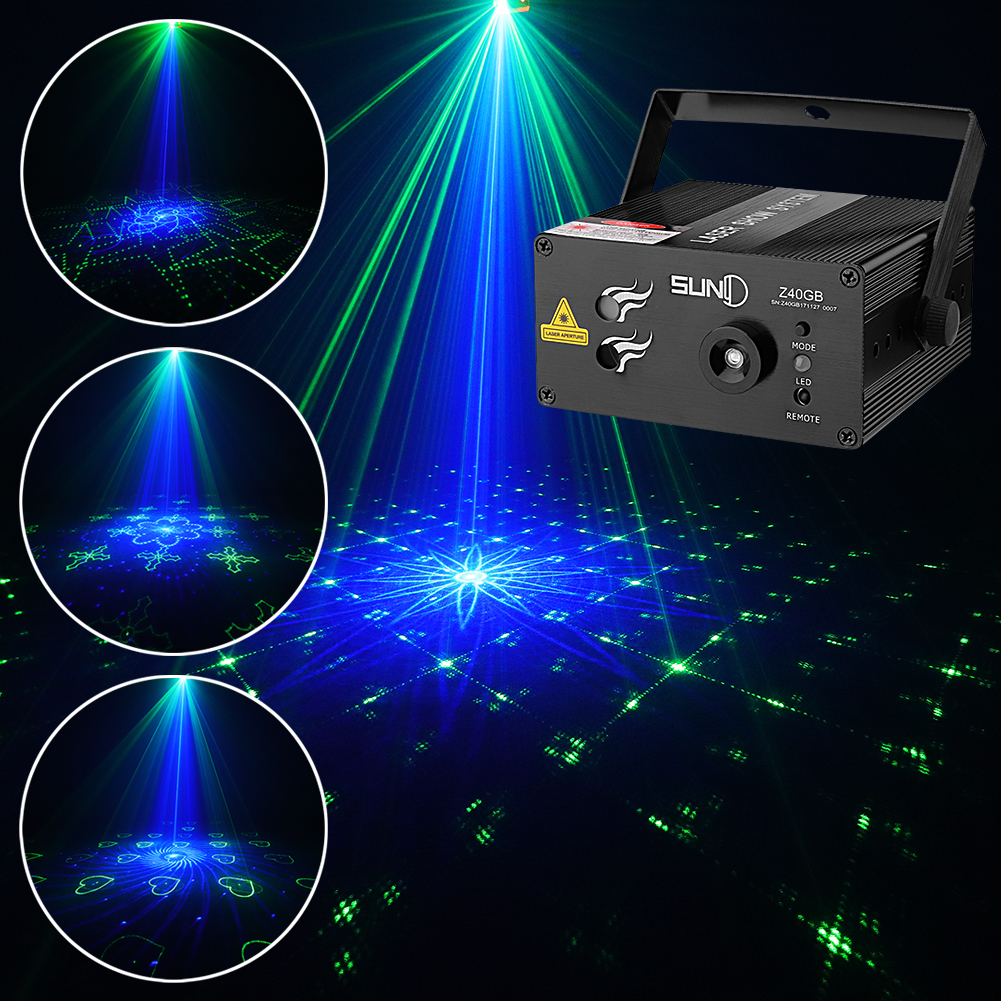 Details About Suny Ir 3 Lens 40 Gobos Gb Stage Laser Lighting Show Dj Home Party Led Light