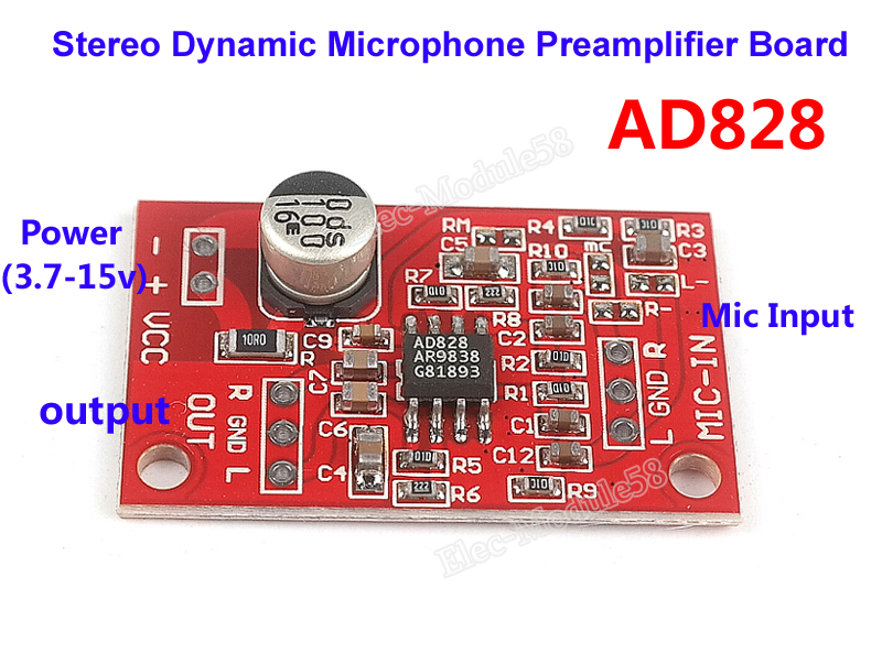 dc 3 7v 15v 12v ad828 stereo microphone preamplifier board dynamic mic pre amp 699925551249 ebay. Black Bedroom Furniture Sets. Home Design Ideas